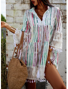 Lace Print Shift 3/4 Sleeves Flare Sleeve Mini Casual Vacation Dresses
