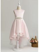 A-Line Asymmetrical Flower Girl Dress - Satin Sleeveless Scoop Neck With Beading (Detachable sash)
