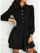 Einfarbig A-Linien-Kleid Lange Ärmel Mini Kleine Schwarze Elegant Skater Modekleider