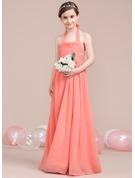 A-Line/Princess Halter Floor-Length Chiffon Junior Bridesmaid Dress With Ruffle Bow(s)