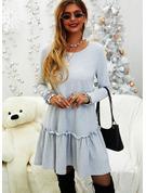 Einfarbig Etuikleider Lange Ärmel Midi Lässige Kleidung Tunika Modekleider
