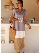 Trozos de color Impresión Vestidos sueltos Manga Corta Maxi Casual camiseta Vestidos de moda