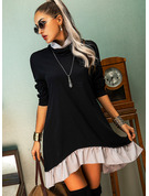 Blocchi di colore Abiti dritti Maniche lunghe Mini Casuale Tunica Vestiti di moda