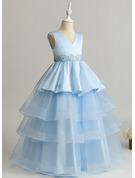 Ball-Gown/Princess Floor-length Flower Girl Dress - Tulle/Lace Sleeveless V-neck With Ruffles