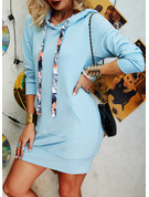 Solid Sheath Long Sleeves Mini Casual Sweatshirt Dresses
