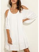 Solid Shift 1/2 Sleeves Cold Shoulder Sleeve Mini Little Black Casual Elegant Tunic Dresses