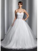 Balo Elbisesi Sweetheart Şapel Kuyruk Tül Gelinlik Ile Büzgü boncuklu kısım Payetler