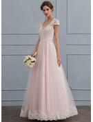 Duchesse-Linie/Princess V-Ausschnitt Bodenlang Tüll Brautkleid mit Perlstickerei Pailletten