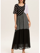 Renkli klişe Cu Bulină Imprimeu Shift Elbiseleri Mâneci Scurte Maxi gündelik Moda Elbiseler