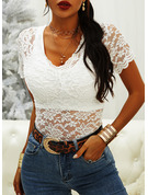 Lace Solid V-Neck Short Sleeves Casual Elegant Blouses