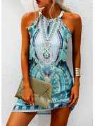 Print Shift Sleeveless Mini Casual Vacation Tank Dresses