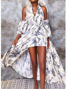 Kwiatowy Nadruk Sukienka Trapezowa Długie rękawy Asymetryczny Boho Wakacyjna Łyżwiaż Modne Suknie