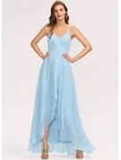 A-Line V-neck Asymmetrical Chiffon Evening Dress With Cascading Ruffles