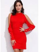 Solid Bodycon Kold-skulder ærmer Lange ærmer Mini Casual Elegant Mode kjoler