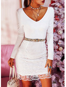 Lace Solid Bodycon Long Sleeves Midi Party Elegant Pencil Dresses