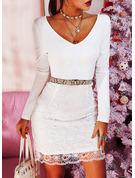 Spets Solid Åtsittande Långa ärmar Midi Party Elegant Penna Modeklänningar