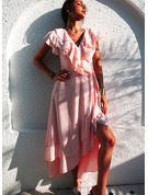 Sólido Vestido línea A Manga Corta Asimétrico Elegante Patinador Bolero Vestidos de moda