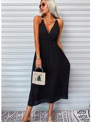Sólido Cubierta Sin mangas Maxi Pequeños Negros Vacaciones Tipo Vestidos de moda