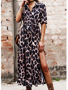 Leopard A-linjeklänning 3/4 ärmar Midi Fritids skater Modeklänningar