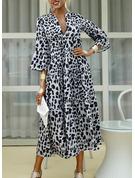 Leopard Šaty Shift 3/4 rukávy Volný Rukáv Maxi Neformální Módní šaty