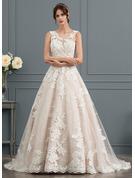 De Baile/Princesa Ilusão Cauda de sereia Tule Vestido de noiva com Beading lantejoulas
