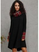 Pläd Shiftklänningar Långa ärmar Midi Fritids Tunika Modeklänningar