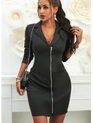 Solido Aderente Maniche lunghe Mini Piccolo nero Casuale Elegante Vestiti di moda