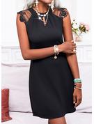 Sólido Vestido línea A Manga Corta Mini Pequeños Negros Casual Patinador Vestidos de moda