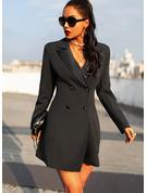 Solido A trapezio Maniche lunghe Mini Piccolo nero Casuale Elegante Vestiti di moda