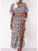 Leopard A-line Short Sleeves Midi Casual Vacation Skater Dresses