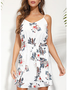 Floral Print A-line Sleeveless Mini Boho Casual Vacation Type Dresses