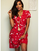 Print Shift Short Sleeves Midi Casual Vacation Tunic Dresses