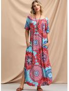 Print Shift Short Sleeves Maxi Boho Casual Vacation Dresses