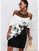 Color Block Blomster Print Skiftekjoler 1/2 ærmer Midi Casual Tunika Mode kjoler