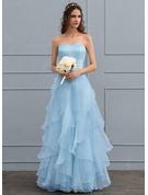Corte A Amada Longos Organza de Vestido de noiva com Babados em cascata