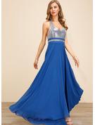cekiny Jednolity Sukienka Trapezowa Bez Rękawów Maxi Impreza Seksowny Łyżwiaż Modne Suknie