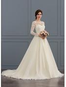 Balklänning/Prinsessa Illusion Court släp Tyll Spets Bröllopsklänning med Beading Paljetter