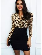 Leopard Print Bodycon Lange ærmer Mini Elegant Mode kjoler