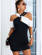 Color Block Skede 1/2 ærmer Mini Casual Elegant Mode kjoler