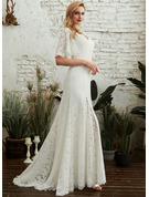 Платье-чехол V-образный Sweep/Щетка поезд Свадебные Платье с Разрез спереди