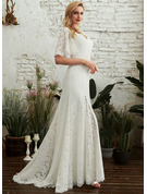 Sheath/Column V-neck Sweep Train Wedding Dress With Split Front
