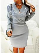 Paljetter Åtsittande Långa ärmar Midi Fritids Elegant Tröjor Modeklänningar