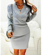 Sequins Bodycon Long Sleeves Midi Casual Elegant Sweater Dresses