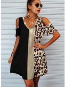 Leopardo Impresión Vestidos sueltos Manga Corta Midi Casual Túnica Vestidos de moda