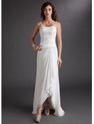 Forme Fourreau Amoureux Asymétrique Mousseline Robe de mariée avec Brodé Motifs appliqués Dentelle Paillettes Robe à volants