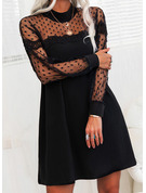 Lace PolkaDot Solid Shift Long Sleeves Mini Little Black Elegant Tunic Dresses