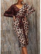 Leopard Bodycon Long Sleeves Midi Elegant Dresses