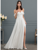 A-Line/Princess Off-the-Shoulder Floor-Length Chiffon Wedding Dress With Ruffle Split Front