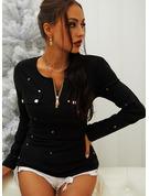 Pailletten Einfarbig Rundhalsausschnitt Lange Ärmel Lässige Kleidung Blusen