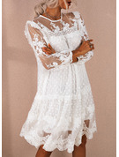 Lace Solid Shift 3/4 Sleeves Mini Elegant Tunic Dresses